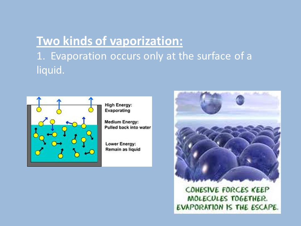 Two kinds of vaporization: