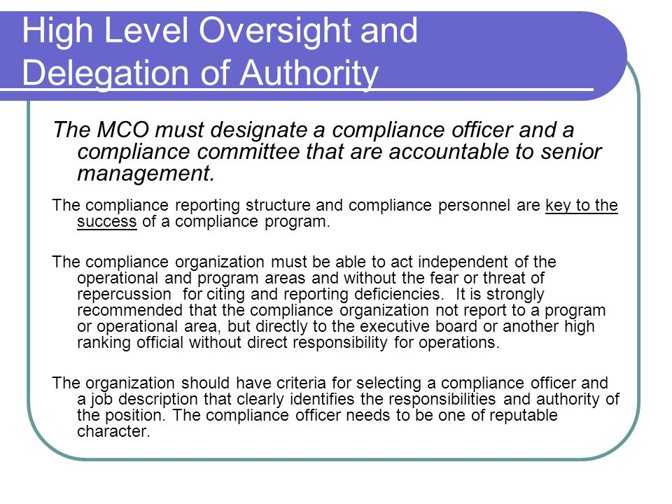 Guidelines for constructing a compliance program for - Compliance officer position description ...