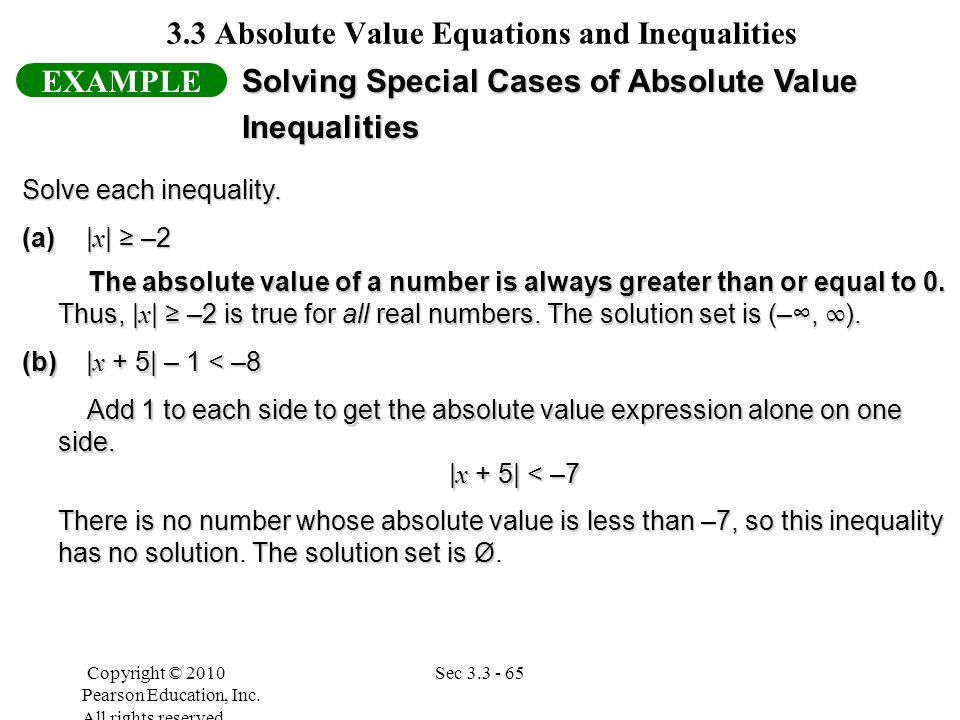 SOLUTION: Write an absolute value inequality that has 3 and -5 as two of its solutions.