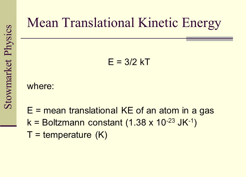 Translational Kinetic Energy Formula 4.3.4 Ideal Gases. - p...