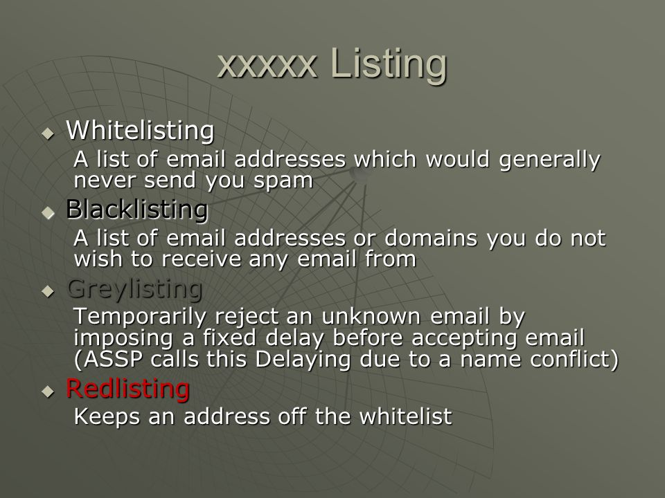 xxxxx Listing Whitelisting Blacklisting Greylisting Redlisting