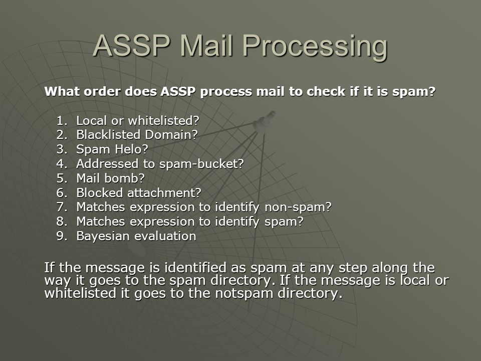 ASSP Mail Processing What order does ASSP process mail to check if it is spam Local or whitelisted