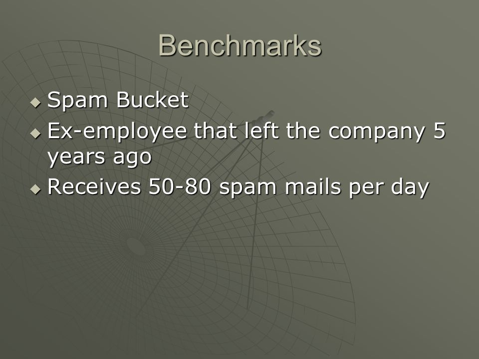 Benchmarks Spam Bucket Ex-employee that left the company 5 years ago