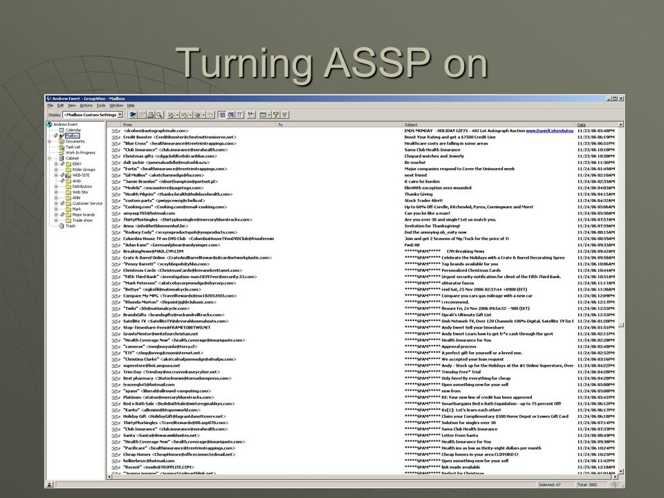 Turning ASSP on