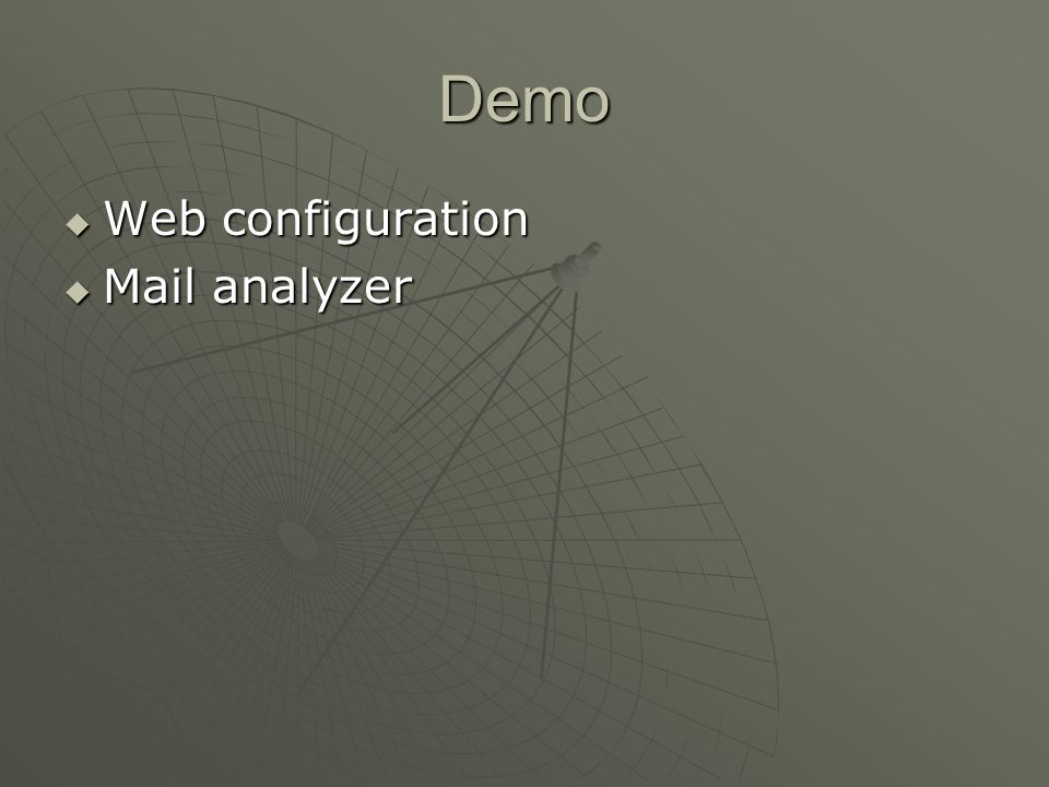 Demo Web configuration Mail analyzer