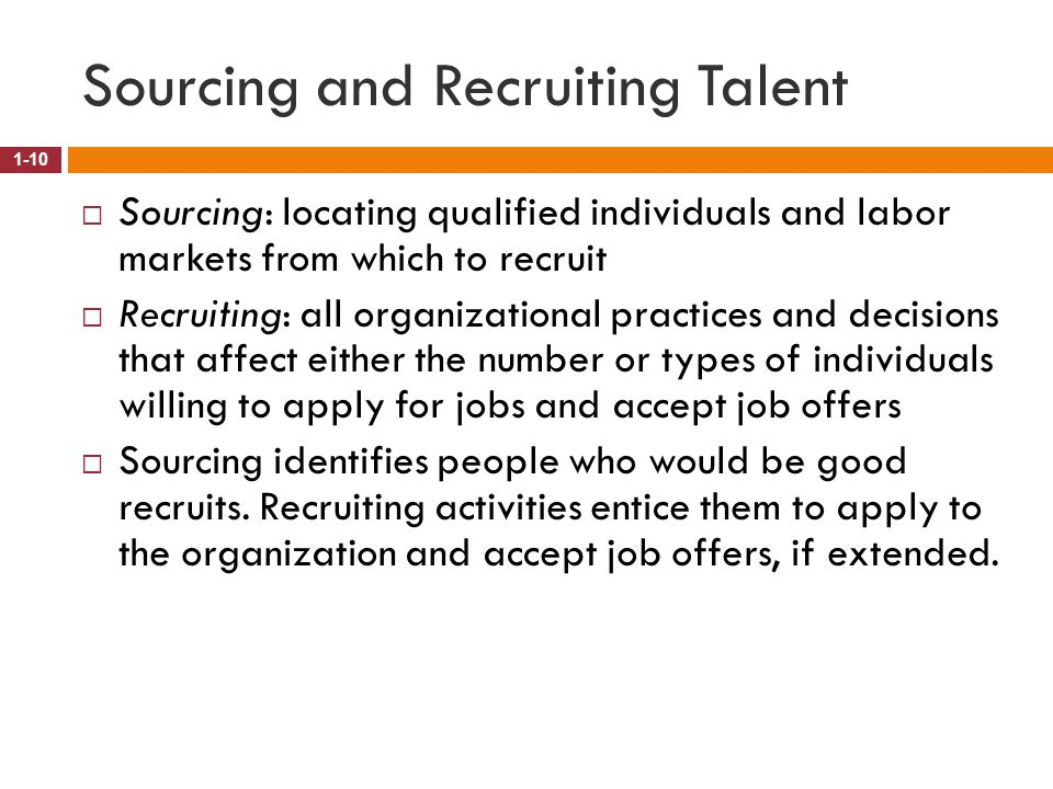 Sourcing and Recruiting Talent