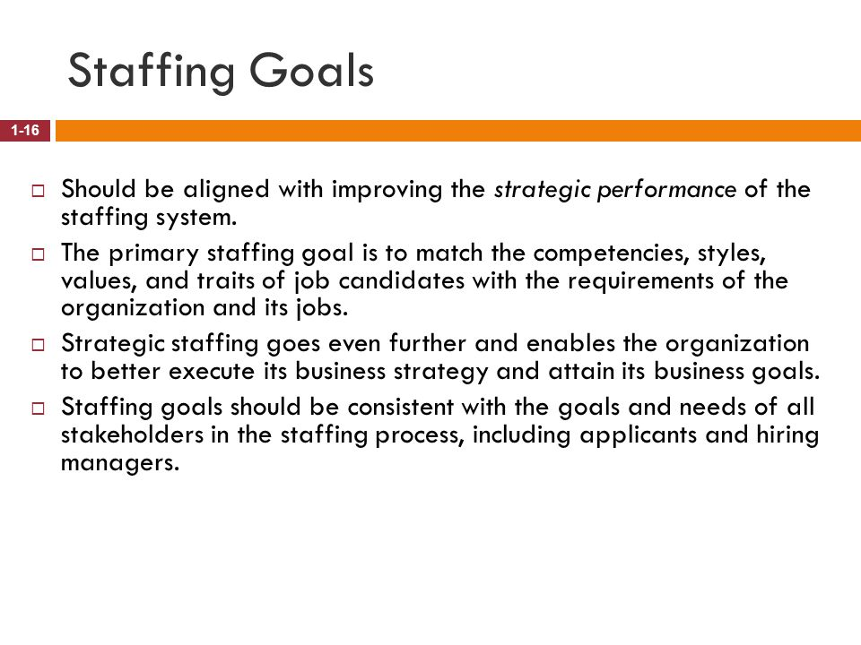 Staffing Goals Should be aligned with improving the strategic performance of the staffing system.
