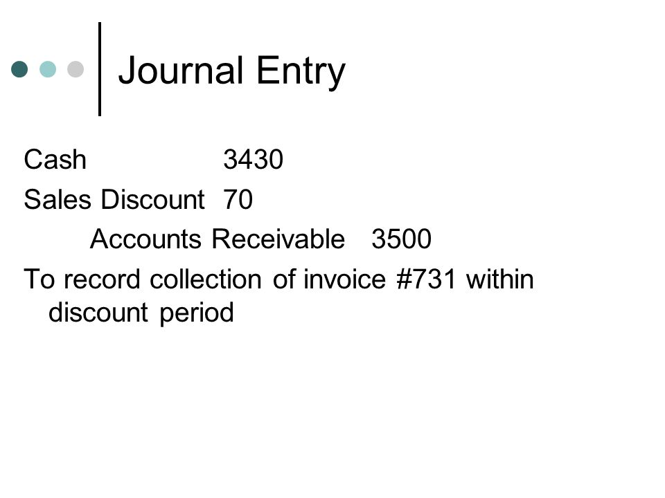 Journal Entry Cash 3430 Sales Discount 70 Accounts Receivable 3500