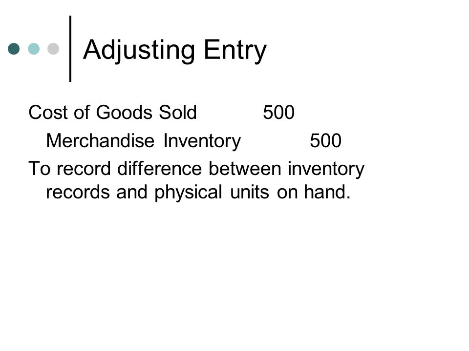 Adjusting Entry Cost of Goods Sold 500 Merchandise Inventory 500