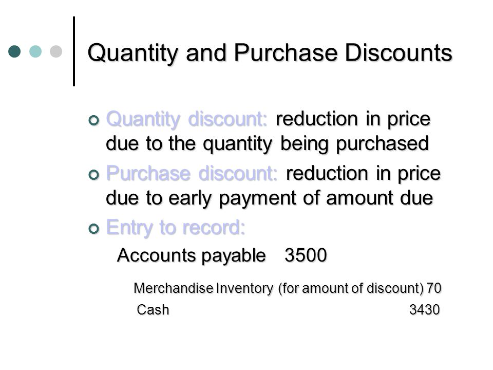 Quantity and Purchase Discounts