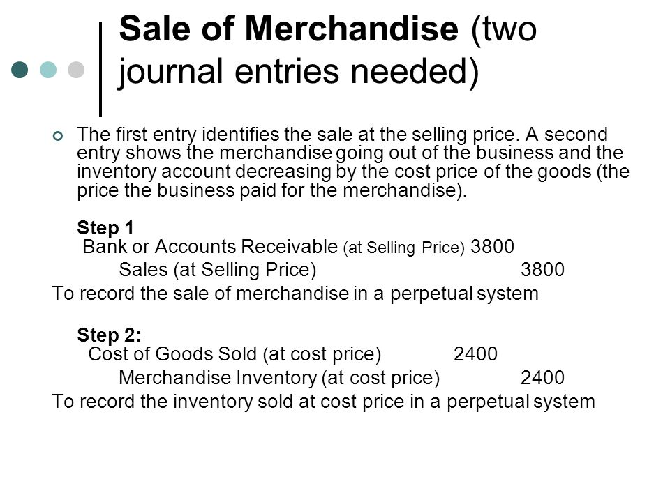 Sale of Merchandise (two journal entries needed)