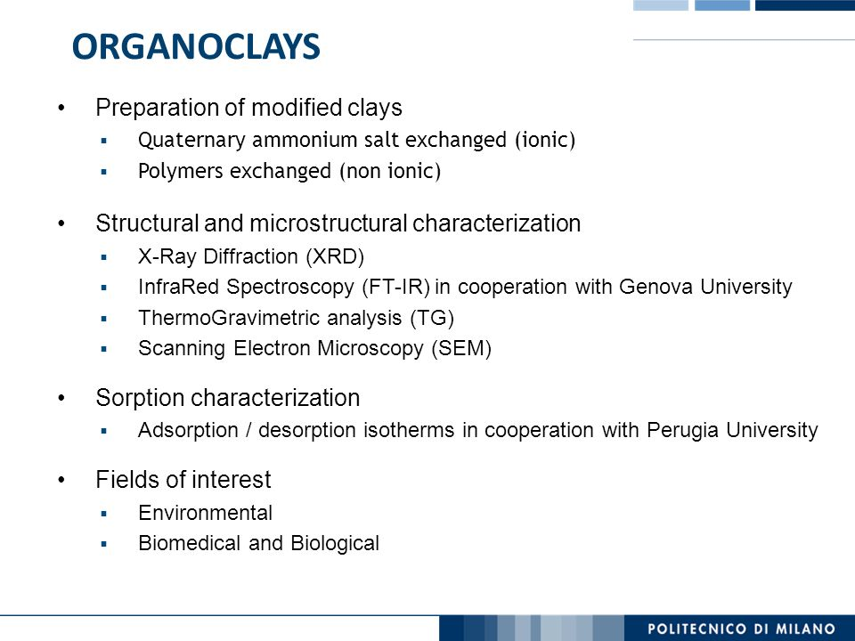 ORGANOCLAYS Preparation of modified clays