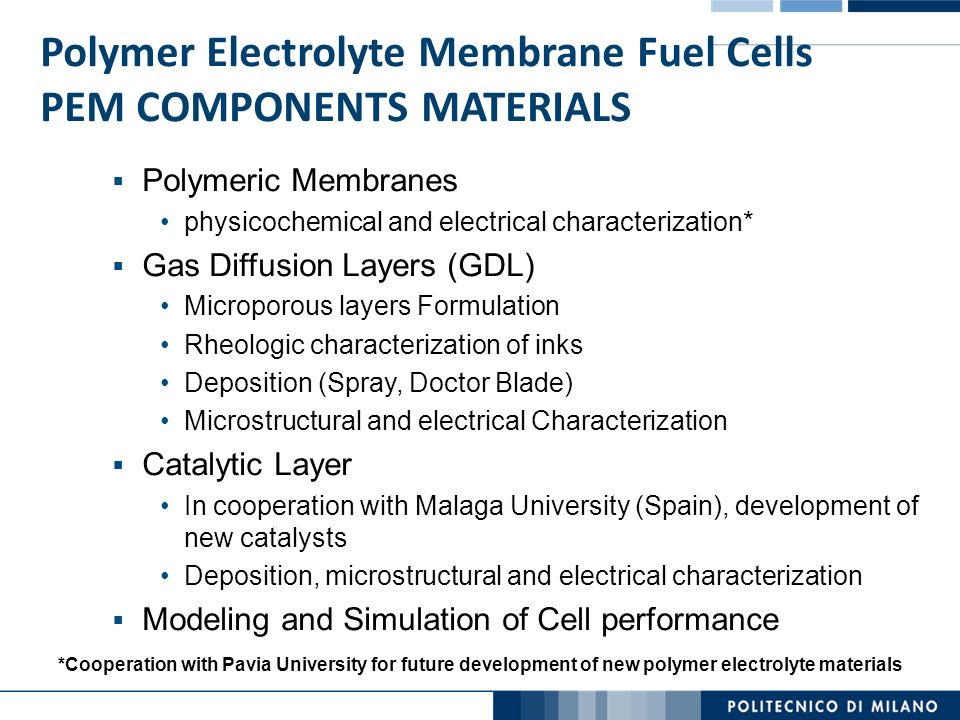 Polymer Electrolyte Membrane Fuel Cells PEM COMPONENTS MATERIALS