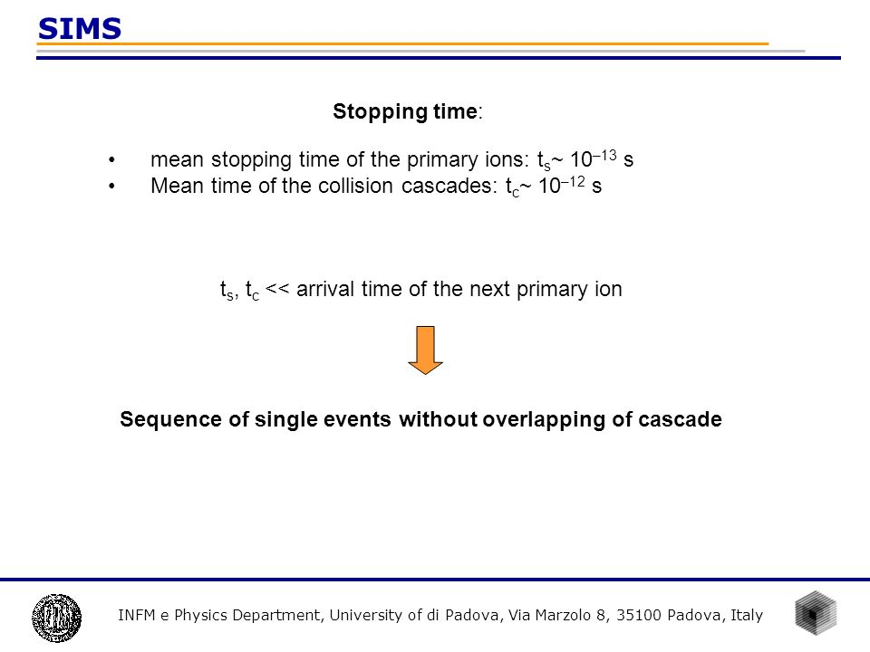 Sequence of single events without overlapping of cascade