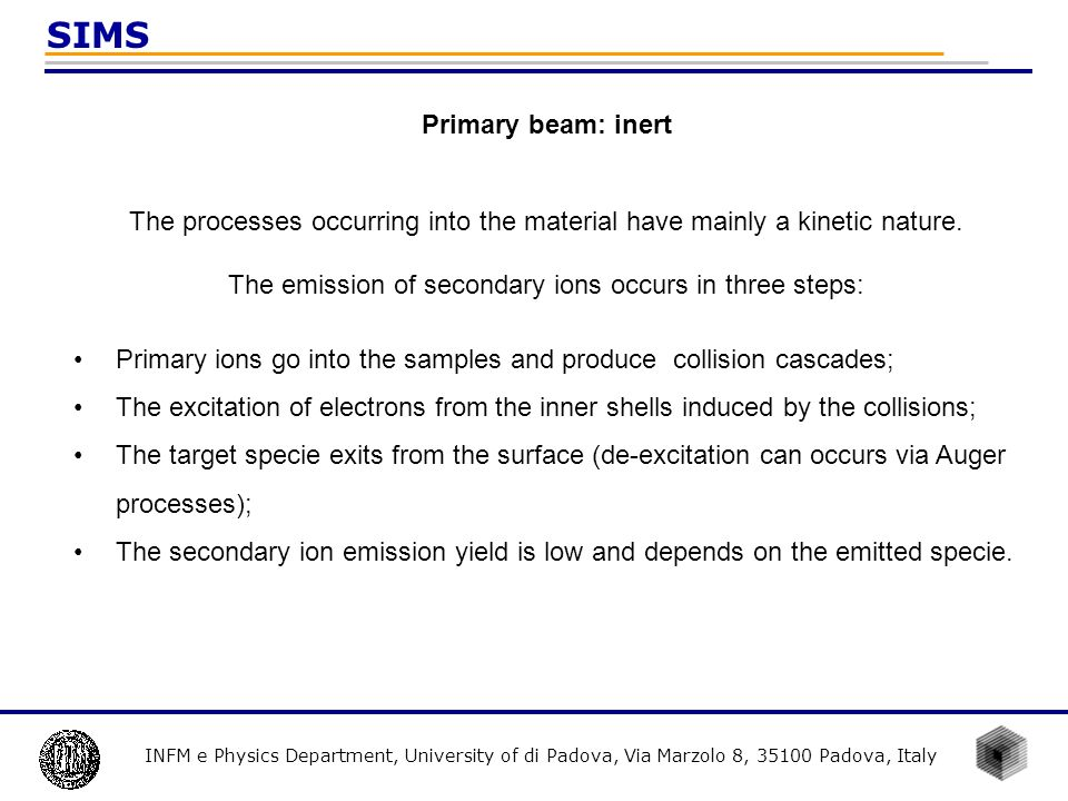The emission of secondary ions occurs in three steps:
