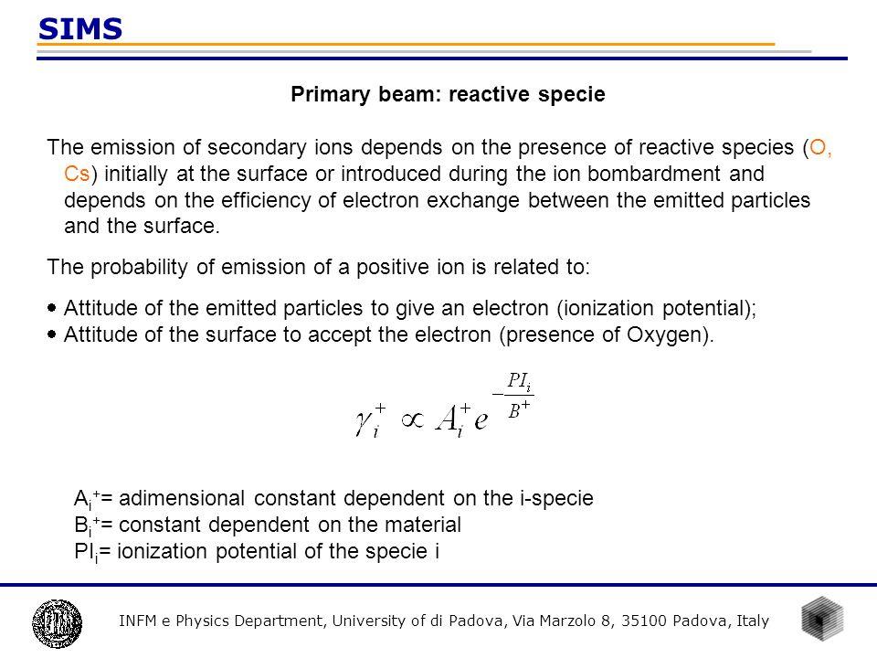 Primary beam: reactive specie
