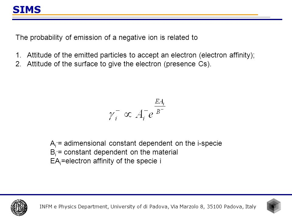 SIMS The probability of emission of a negative ion is related to