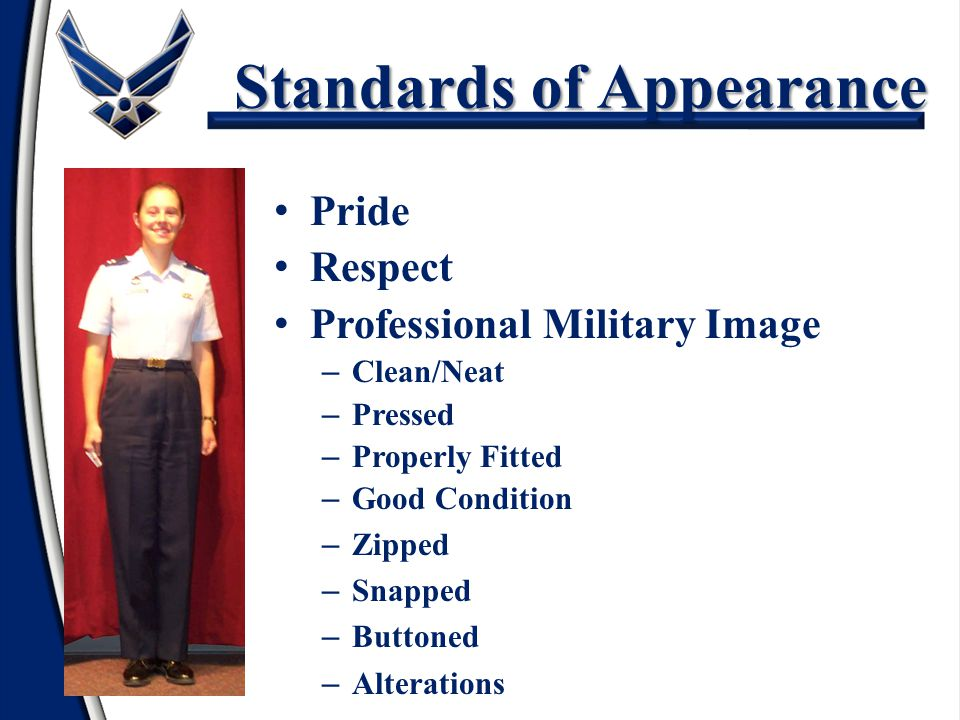 military appearance and professionalism in Appearance a professional is neat in appearance be sure to meet or even exceed the requirements of your company's dress code, and pay special attention.