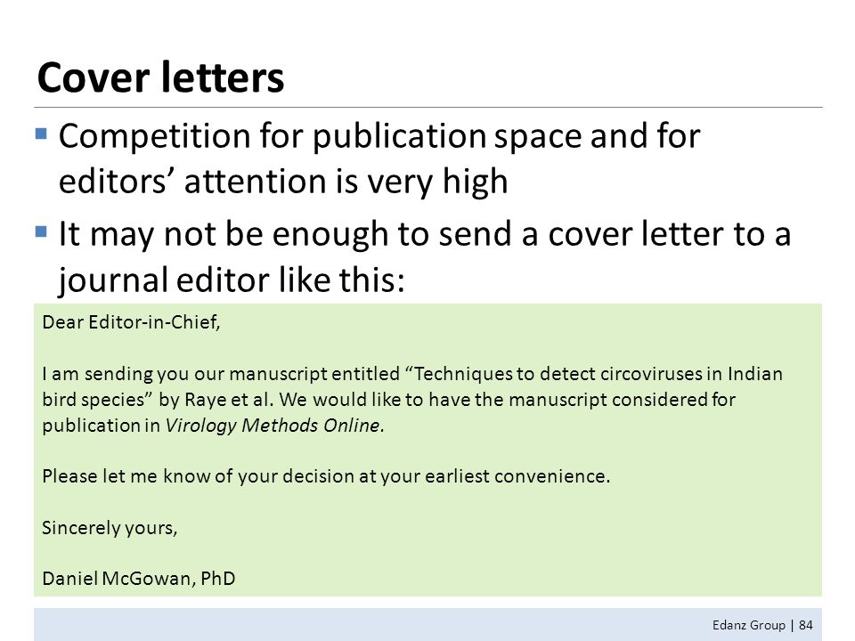 How to Write for and Get Published in Scientific Journals ppt – Publication Cover Letter