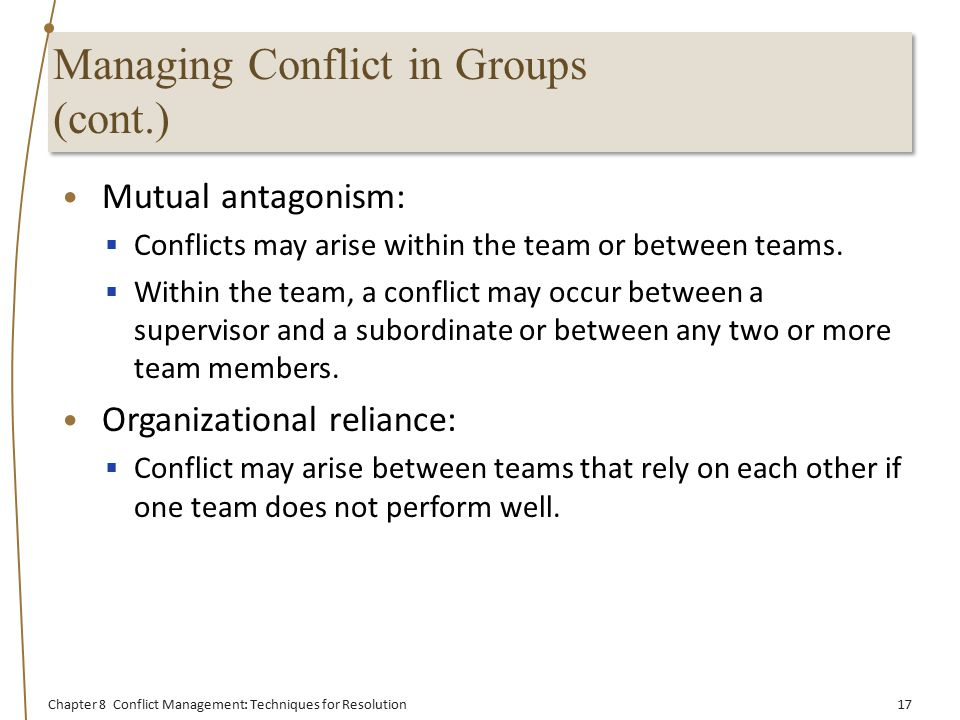how to manage conflict between the Chapter 3: managing conflict with your boss overview the special case of conflict between a direct report and a boss presents unique challenges.