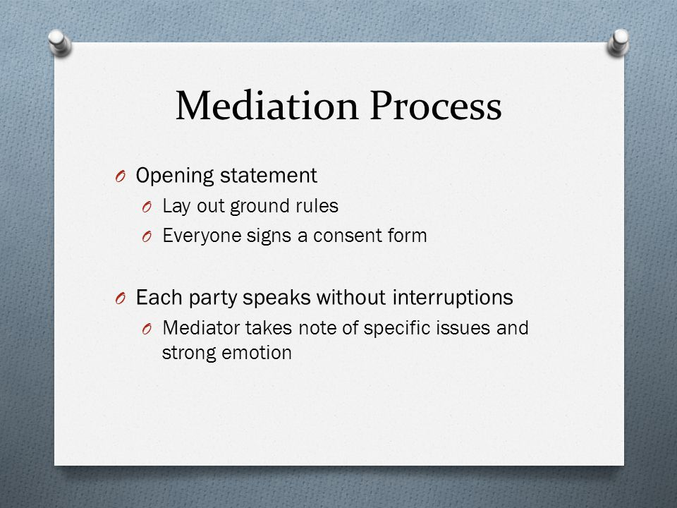 mediation opening statement Below are opening statements we have given at trial in civil injury cases the pdf files are actual trial transcripts from trials, including a number of million dollar plus verdicts.
