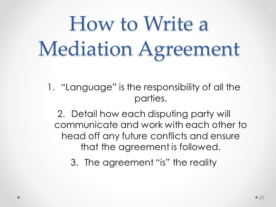How to write a mediation statements