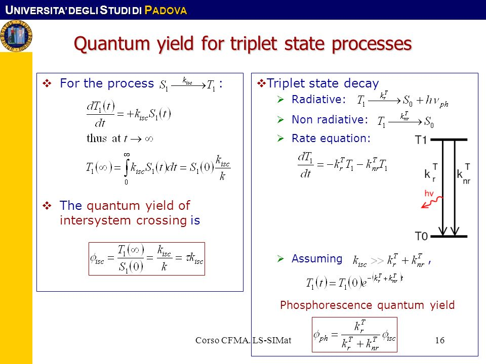 Quantum yield for triplet state processes
