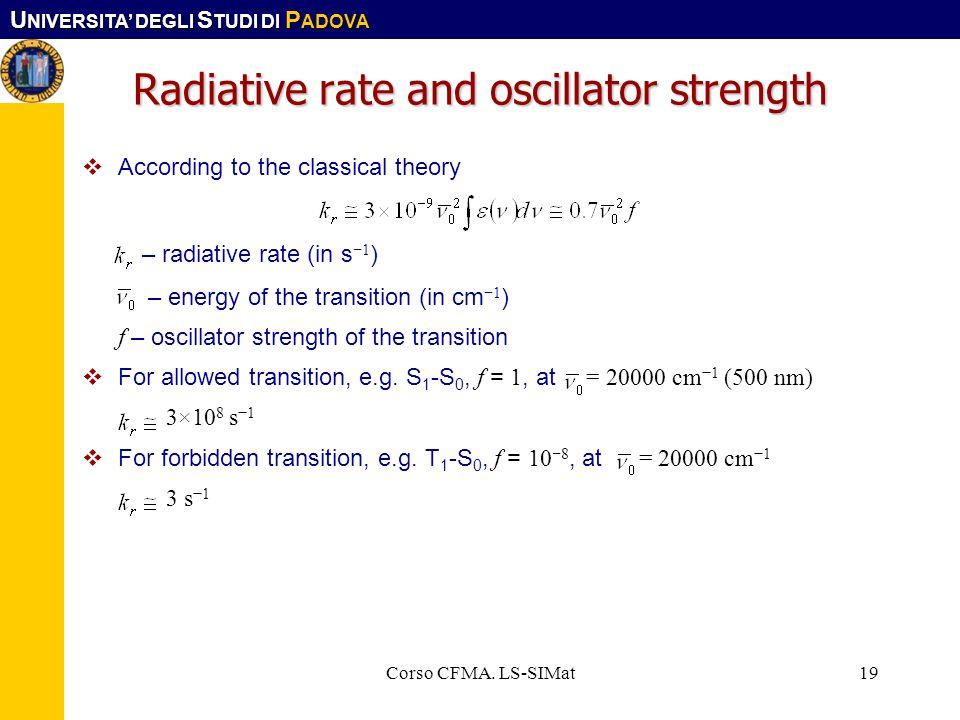 Radiative rate and oscillator strength