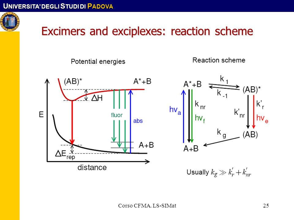 Excimers and exciplexes: reaction scheme