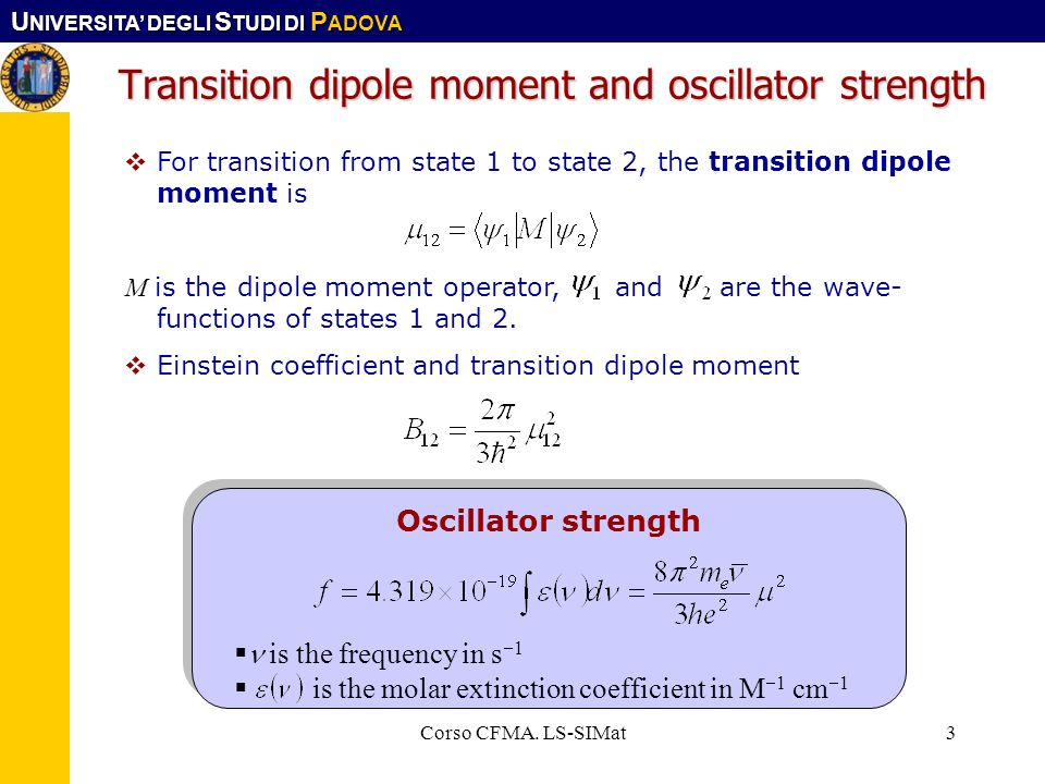 Transition dipole moment and oscillator strength