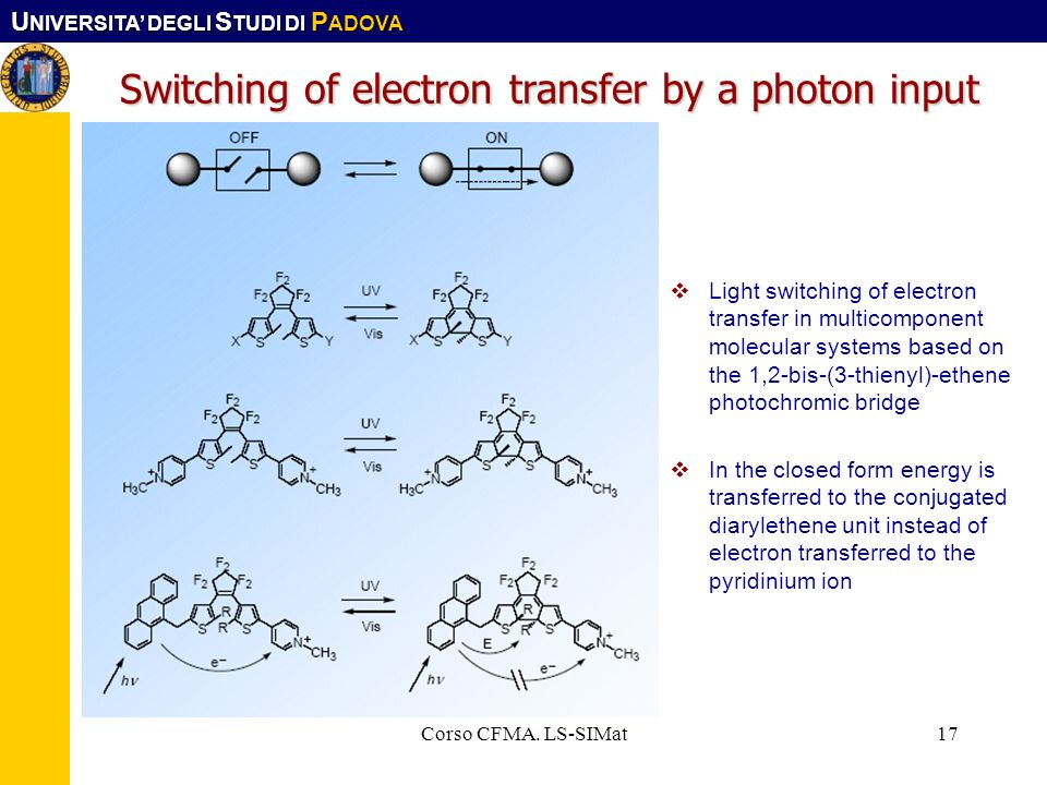 Switching of electron transfer by a photon input