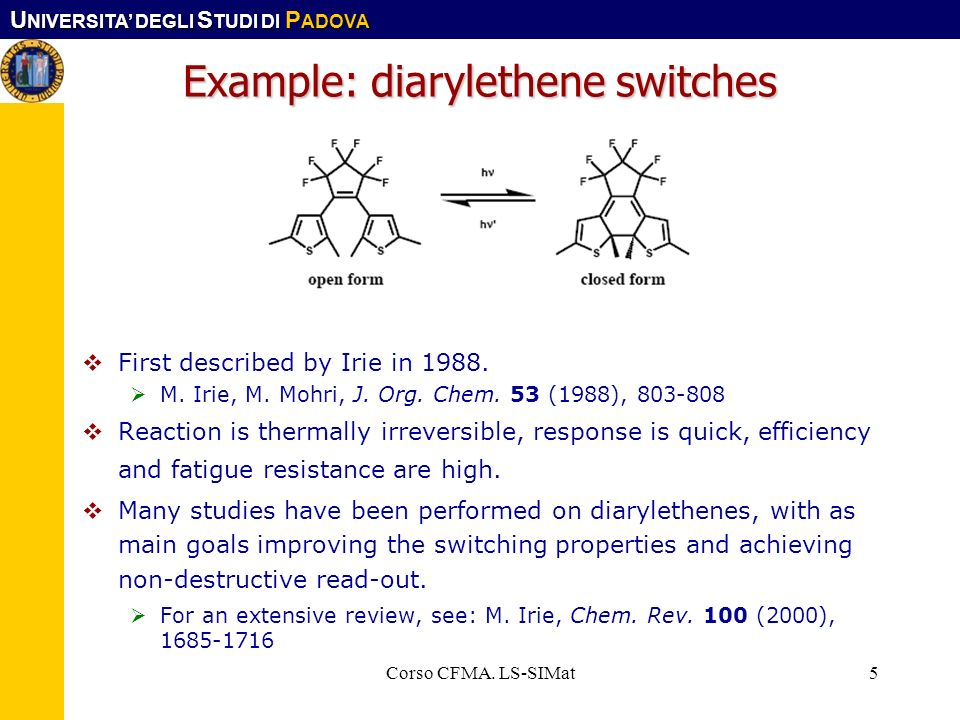 Example: diarylethene switches