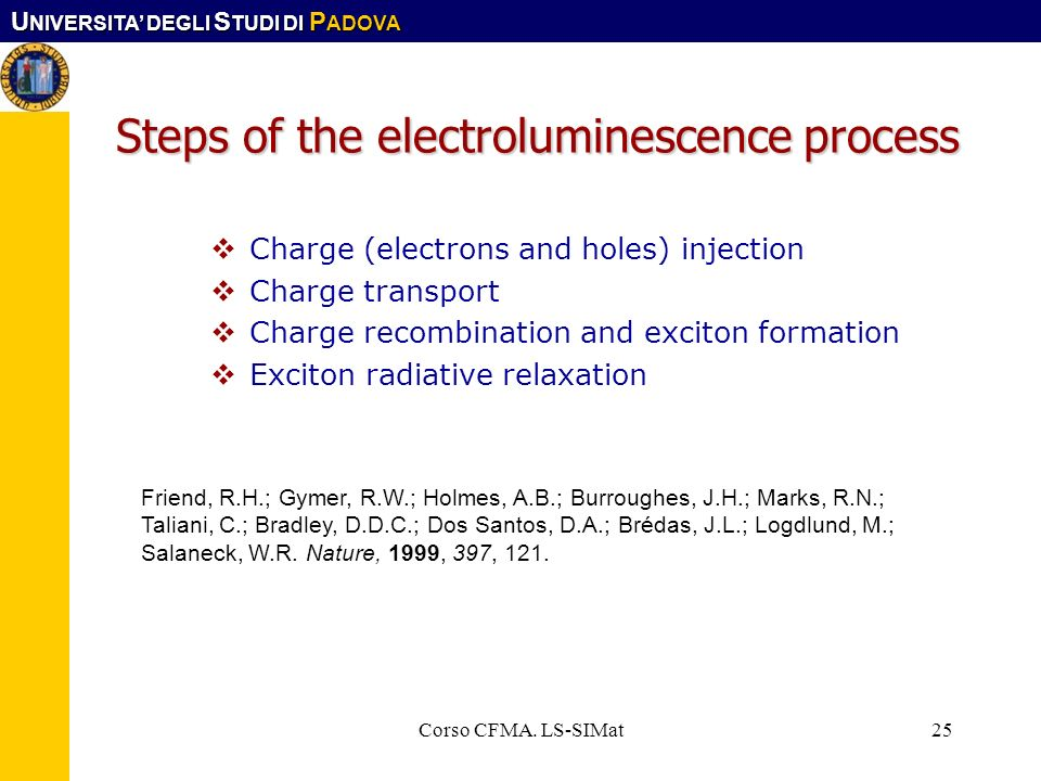 Steps of the electroluminescence process