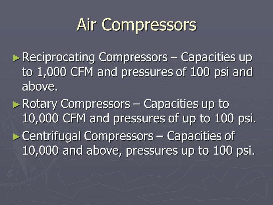 Air Compressors Reciprocating Compressors – Capacities up to 1,000 CFM and pressures of 100 psi and above.