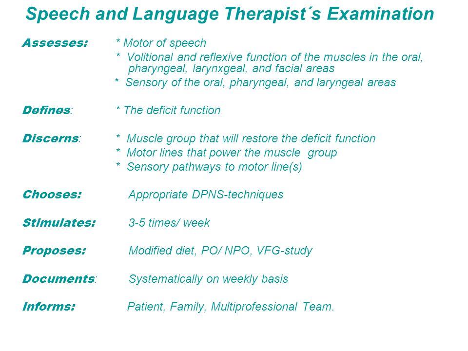 Speech and Language Therapist´s Examination