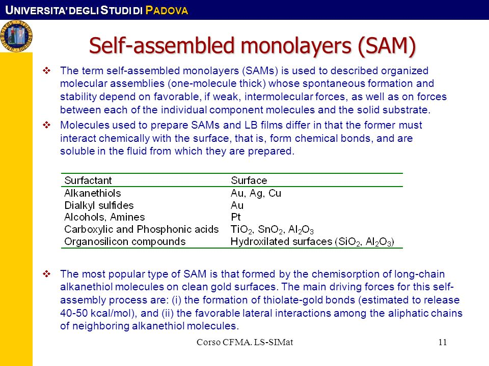 Self-assembled monolayers (SAM)