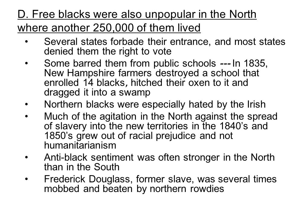 how free were blacks in the north essay 1 name _____ dbq outline: how free were free blacks in the north i introduction: a hook (write this later, but before you write your essay.