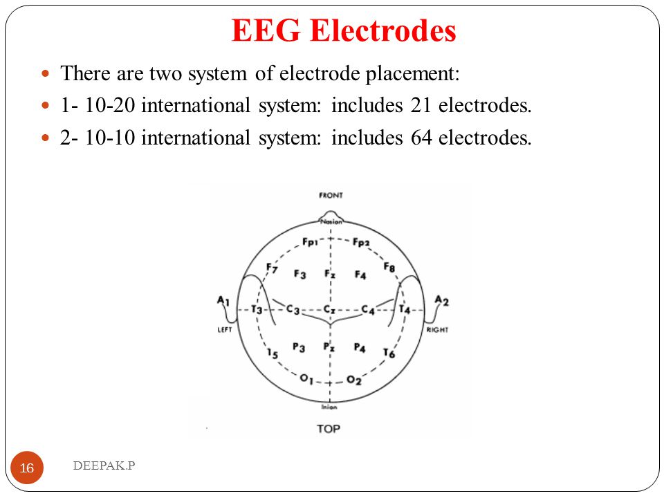 EEG Electrodes There are two system of electrode placement: