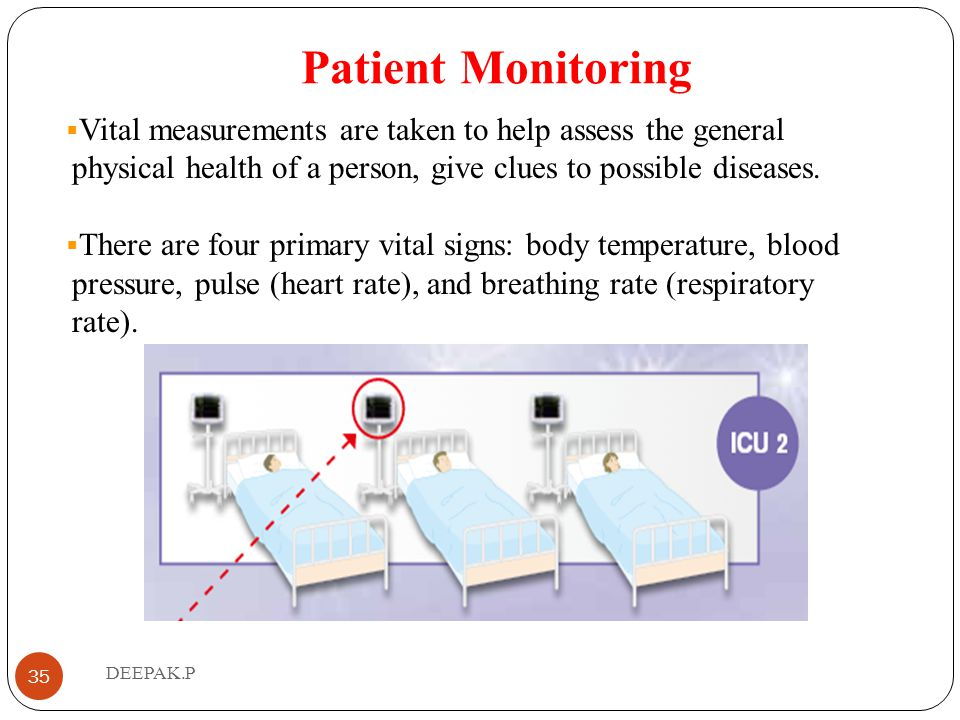 Patient Monitoring Vital measurements are taken to help assess the general physical health of a person, give clues to possible diseases.