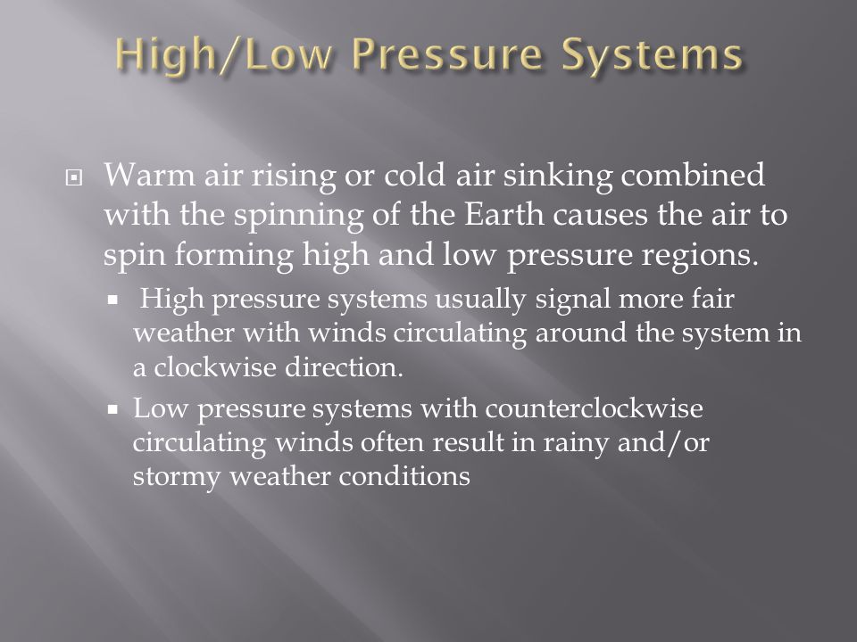 High/Low Pressure Systems