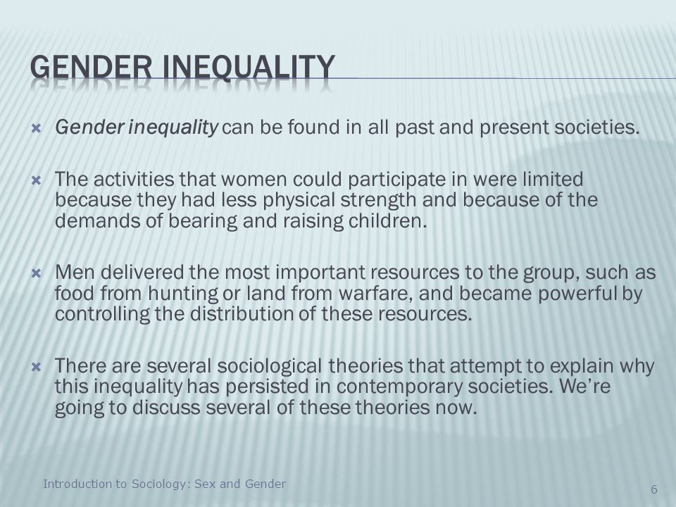 how gender inequality is explained sociology essay Ch 1 – introduction – p 2 robert max jackson down so long    working draft the problem to be explained is why one kind of people, men, consistently do better than another, women gender inequality is a broad, abstract, and often.