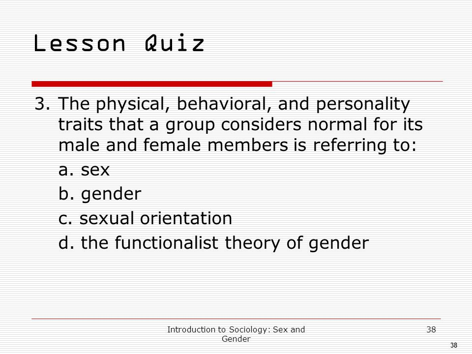 Introduction to Sociology: Sex and Gender