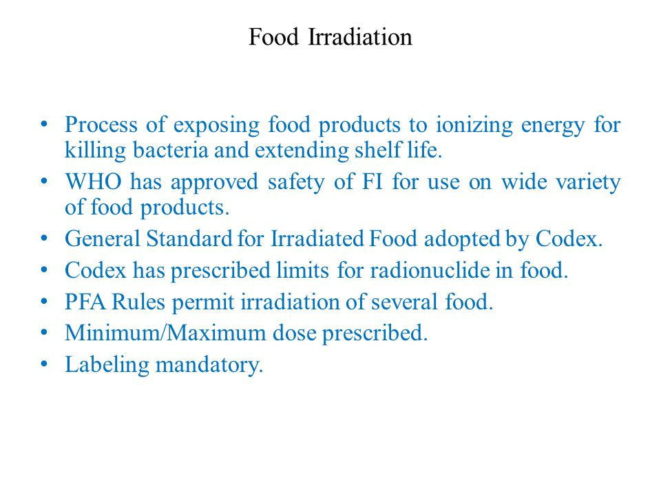 food irradiation essay Food irradiation essayfood irradiation is a food safety technology that can eliminate disease-causing germs from foods like pasteurization of milk, and pressure-cooking of canned foods, treating food with ionizing radiation can kill bacteria that would otherwise cause food borne disease.