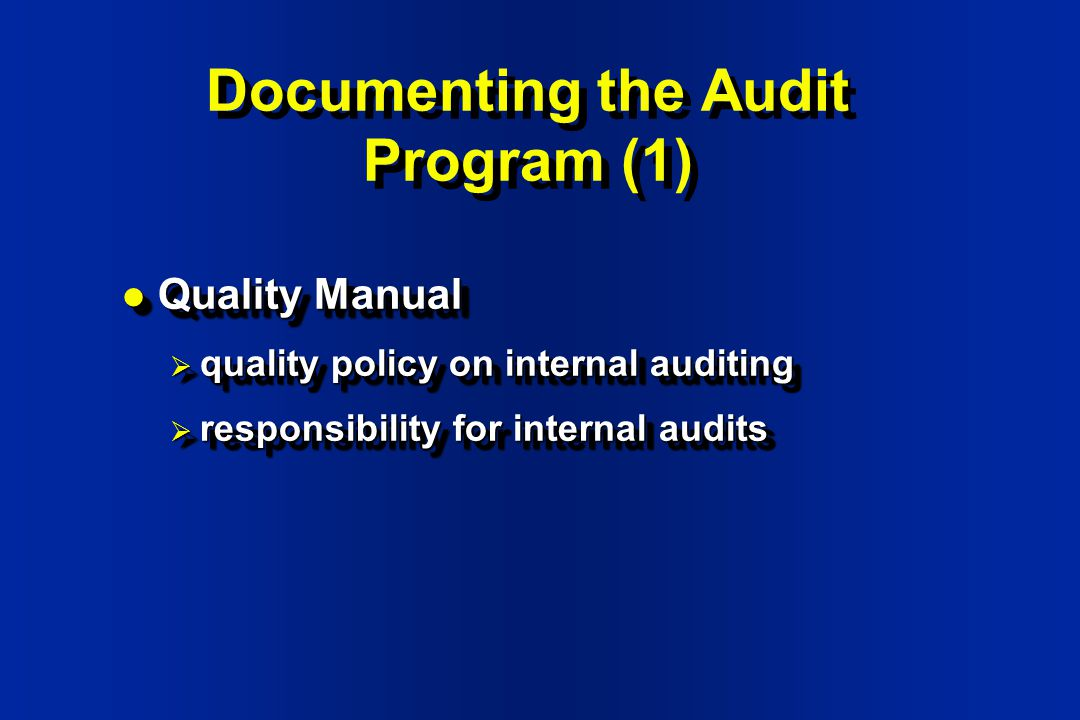 internal audit policy and procedure manual