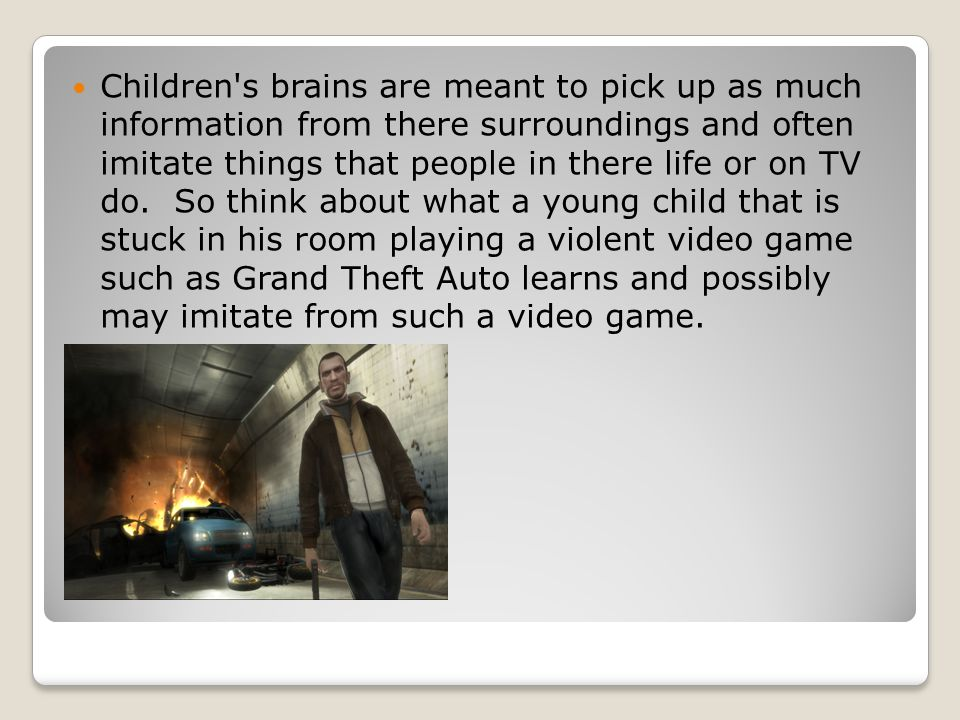 the influence of violence on a person Yet, constant exposure to violence from multiple sources, including first person violent video games, in the absence of positive factors that help to buffer these negative exposures is likely to increase the probability that youth will engage in violent behavior.