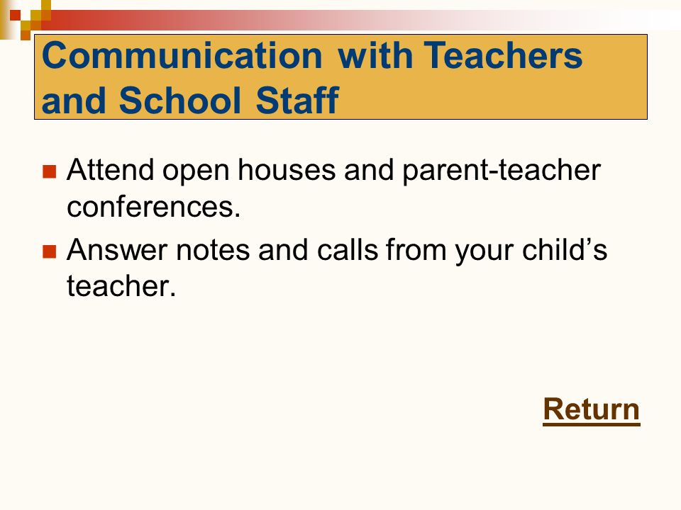 Communication with Teachers and School Staff