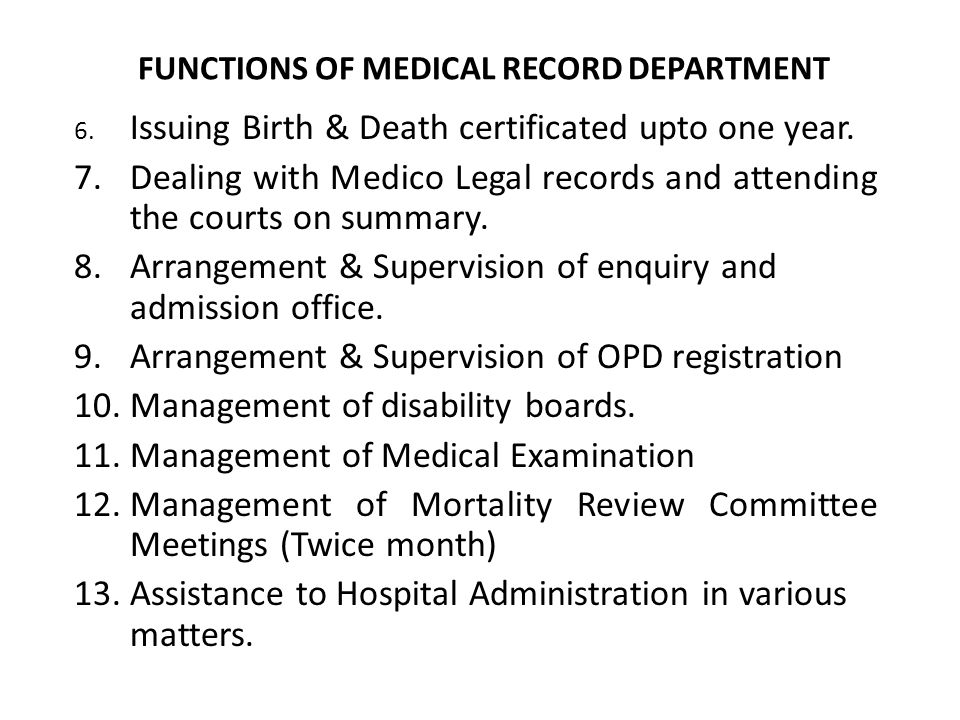 Medical Records Department Electronic Medical Records Emr