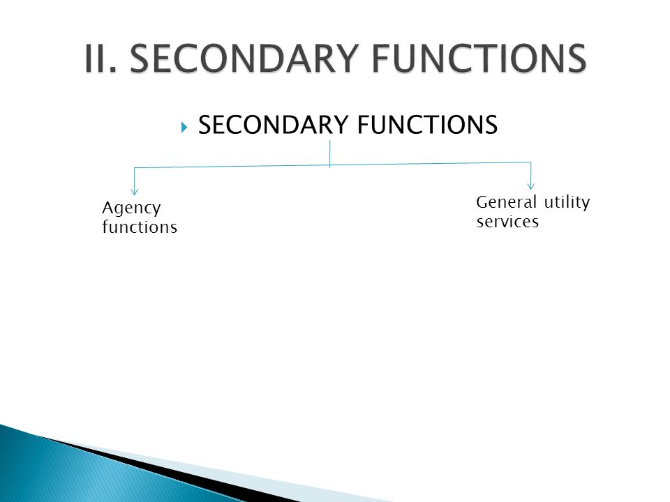 II. SECONDARY FUNCTIONS