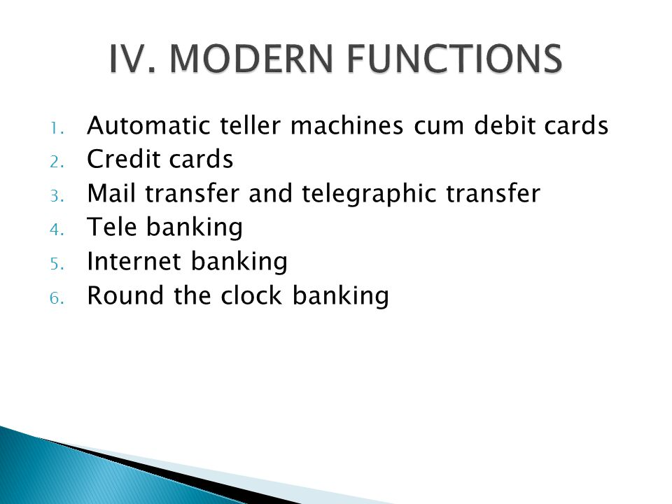 IV. MODERN FUNCTIONS Automatic teller machines cum debit cards