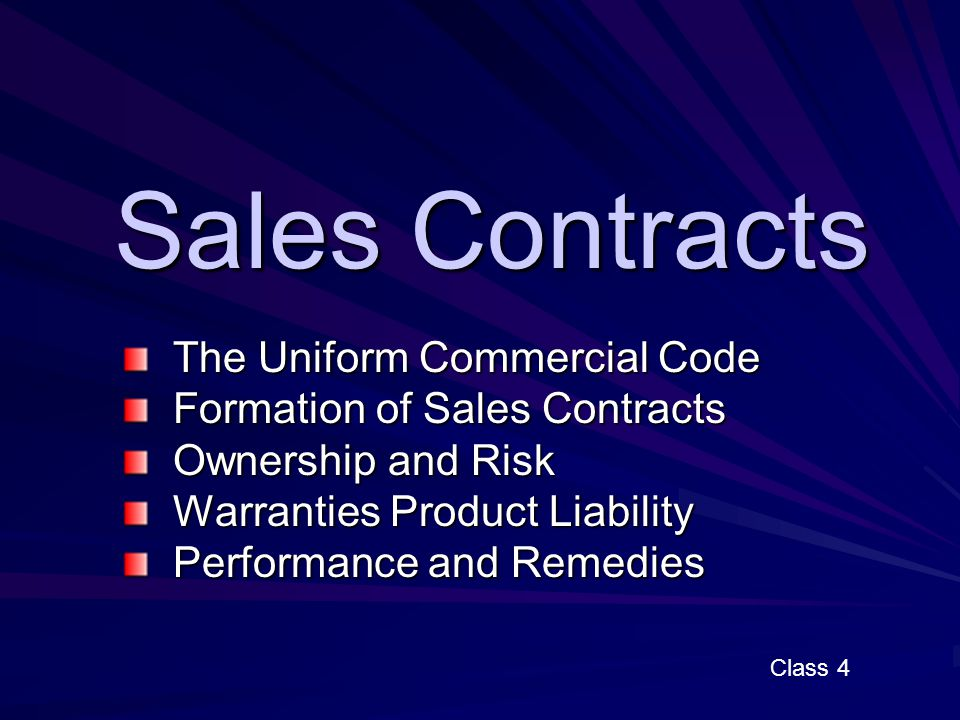 sales contracts the uniform commercial code